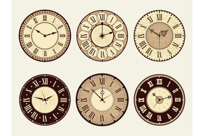 Vintage clock. Elegant antique metal watches vector illustrations