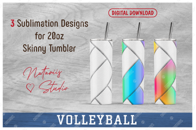 3 Volleyball Patterns for 20oz SKINNY TUMBLER.