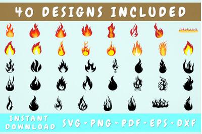 Fire SVG Bundle - 40 Designs, Flames SVG, Cricut Cut Files