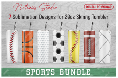 7 Realistic Sports Patterns for 20oz SKINNY TUMBLER.