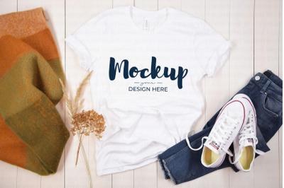 White Shirt Mockup Fall