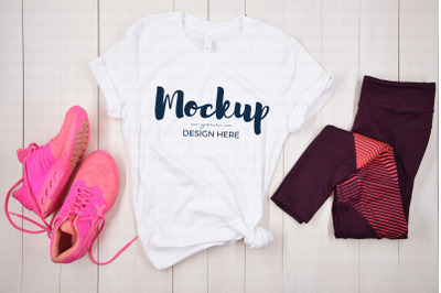 White Fitness Shirt Mockup