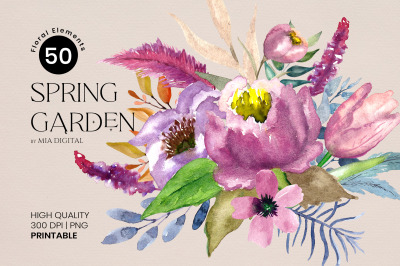 50 Watercolor Floral Elements Spring Garden Different Flowers