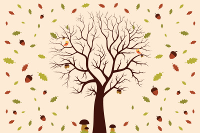 autumn elements tree leaves vector