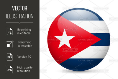 Round glossy icon of Cuba