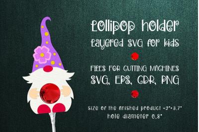 Spring Gnome -Lollipop Holder Template SVG