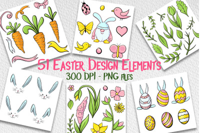 Hand drawn Easter design elements png set