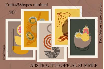 Abstract tropical summer. Fruits&Shapes minimal