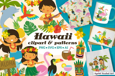 Hawaii clipart bundle - tropical graphics and patterns
