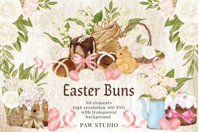Easter Buns Eggs Clipart Lily Of The Valley Roses Spring Flowers