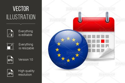 Icon of EU flag and calendar