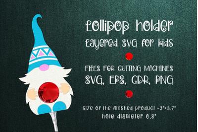 Nordic Gnome -Lollipop Holder Template SVG