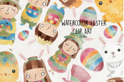Watercolor Easter Clipart   Set of 15  