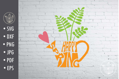 Happy Spring svg cut file, watering can shape, lettering design