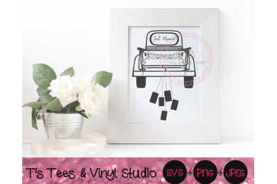 Vintage Truck Svg, Just Married Svg, Cans, Floral Garland, Vintage Pic