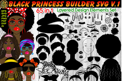 Black Princess Layered SVG V.1 African Girl Afro Hairstyles