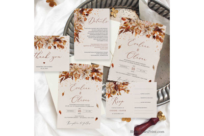 Fall and Autumn Wedding Invitation Set Editable Template