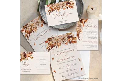 Autumn Flowers Wedding Invitation Suite Editable Template DIY Digital