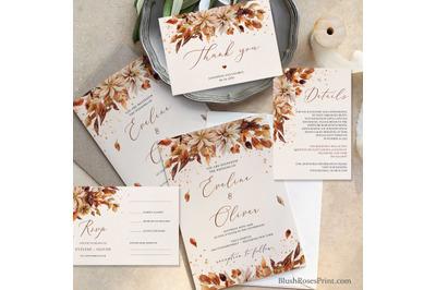 Fall Wedding Invitation Set Editable Template Printable DIY Digital