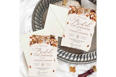 Fall and Autumn Brifdal Shower Invitation Printable Template Editable