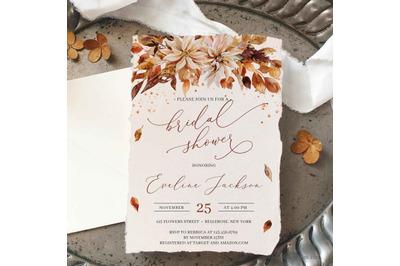 Fall Flowers Bridal Shower Invitation Editable Template Printable DIY