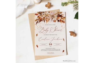 Editable Autumn Flowers Bridal Shower Invitation Template Digital DIY
