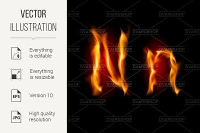 Fiery font. Letter N