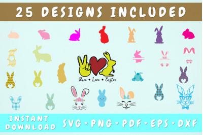 Easter Bunny SVG Bundle - 25 Designs, Cricut Cut Files