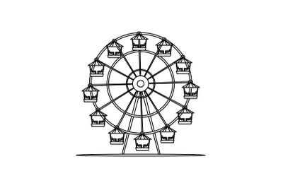 Amusement Parks Ferris Wheel Flat Icon