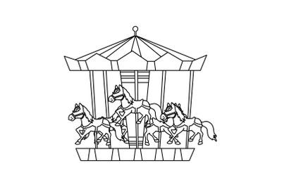 Amusement Parks Carousel Outline Icon