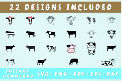Cow SVG Bundle - 22 Designs, Cricut Cut Files