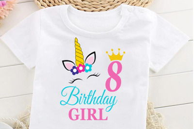 Birthday Girl Svg, Birthday Princess Svg, 8 th Birthday Svg, B-day Gir