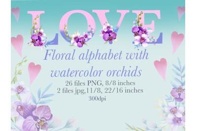 Floral alphabet with watercolor orchids,monogram letters,wedding decor
