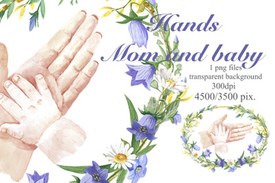 Hands of mom and baby in a floral frame, , Mom gif ,Mothers day