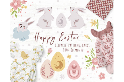 Pastel Easter kids cliparts, Patterns and Cards