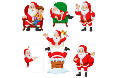 Set of Seven Cartoon Santa Claus