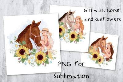 Sunflower sublimation. Design for printing.