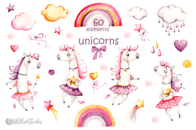Cute unicorn watercolor clipart. Princess watercolour clip art for gir