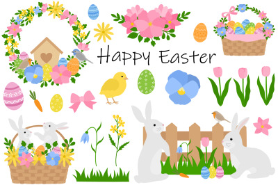 Easter Bunny. Happy easter. Bunny flowers. Easter Bunny SVG
