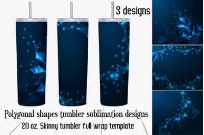 Polygonal shapes tumbler sublimation designs. Skinny tumbler