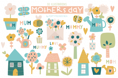 Mothers day clipart set