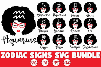 Zodiac Sign Afro Black Woman SVG Bundle