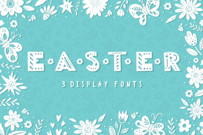 Easter Spring display fonts - Trio