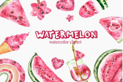Watercolor Watermelon Clipart. Fruit summer clip art.