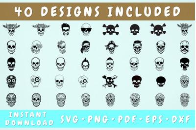 Skull SVG Bundle - 40 Designs, Cricut Cut Files