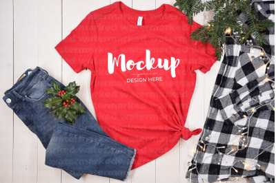 Red Christmas Shirt Mockup