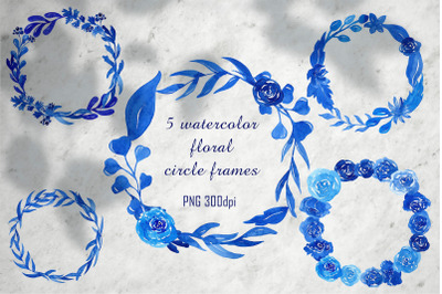 Watercolor floral wreath PNG clipart, Blue flower frame, Wedding