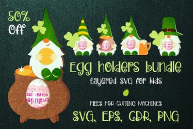 St. Patrick's Gnomes - Egg Holders Bundle SVG