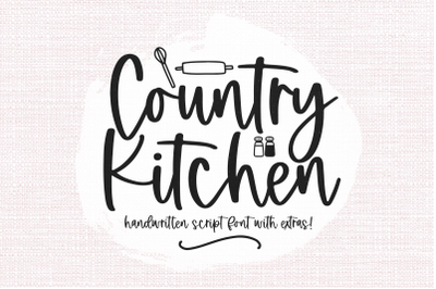 Country Kitchen - Handwritten Font with Farmhouse Doodles