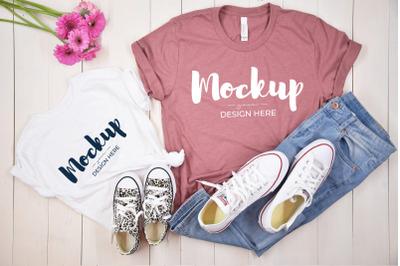Mother Daughter Shirt Mockup&2C; Casual Flower Shirt Mockup
